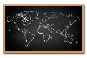 World map on a chalkboard